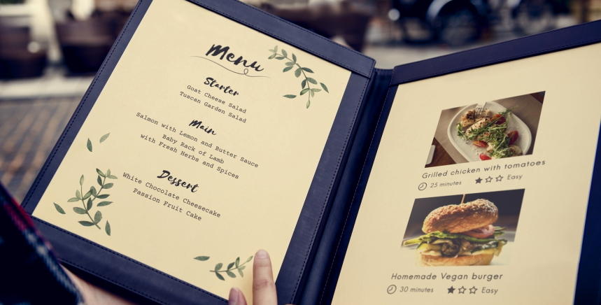 menu for café shop